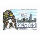 Awesome Boston Fan Black and Gold Cap Postcard