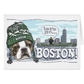 Awesome Boston Fan Green Hat Card