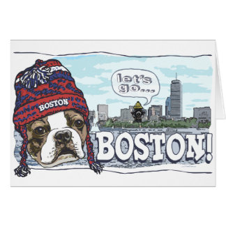 Awesome Boston Fan Red Cap Greeting Cards