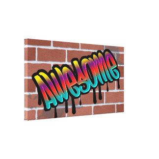 awesome brick wall graffiti design canvas print