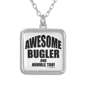 Awesome Bugler Square Pendant Necklace