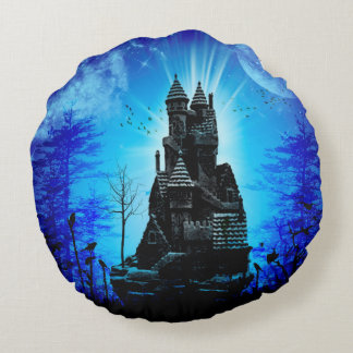 Awesome castle in the night with moon and stars round pillow
