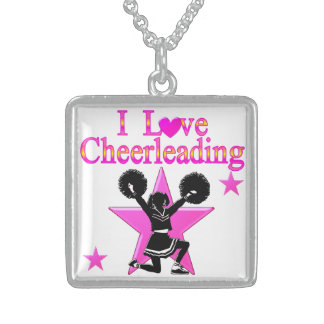 AWESOME CHEERLEADER SQUARE PENDANT NECKLACE