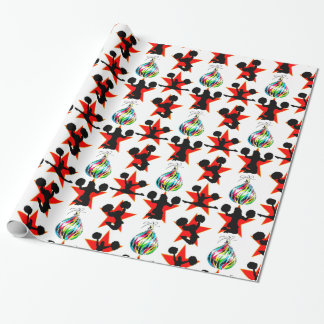 AWESOME CHEERLEADING CHRISTMAS DESIGN WRAPPING PAPER