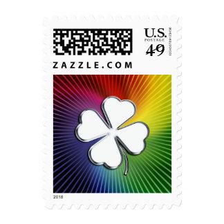 Awesome Chrome Shamrock on colorful background Postage Stamp