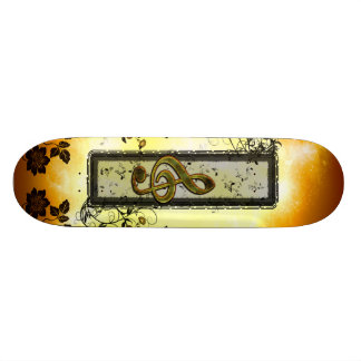 Awesome clef with key notes on a frame skateboard deck