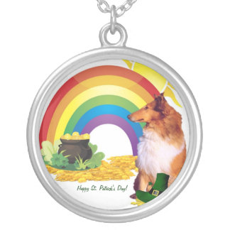 Awesome Collie St. Patrick's Necklace