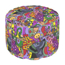 Awesome Colorful Animals Abstract Art Pouf Seat
