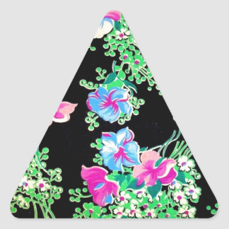 Awesome Colorful Floral Design Triangle Sticker