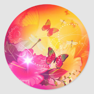 Awesome colorful flowers and butterflys classic round sticker