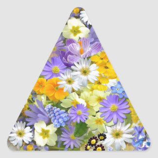 Awesome Colorful Garden Flowers Design Triangle Sticker