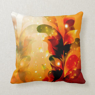 Awesome colorful leaves with glowing light throw pillow