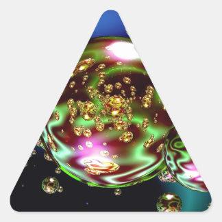 Awesome Colorful Neon Bubbles Design Triangle Sticker