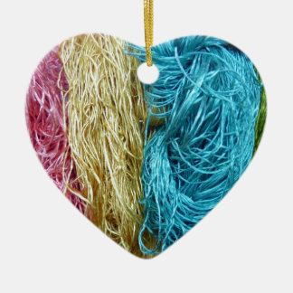 Awesome Colorful Wool Yarn Crochet Knit Design Ceramic Ornament