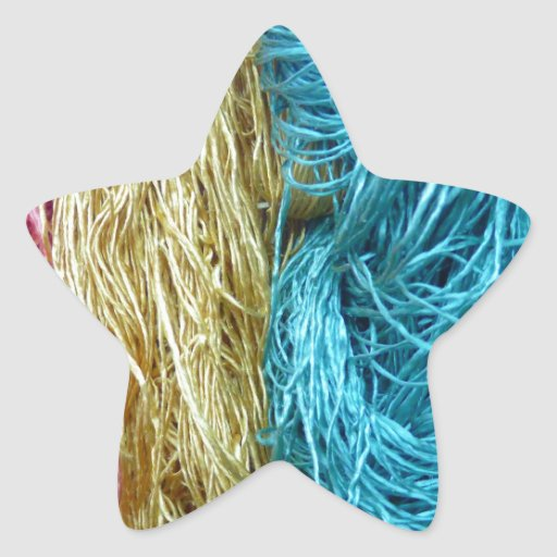 Awesome Colorful Wool Yarn Crochet Knit Design Star Stickers