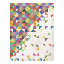 Awesome colourful retro geometric pattern postcard