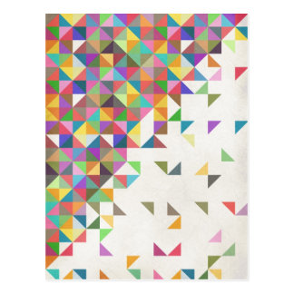 Awesome colourful retro geometric pattern postcard
