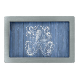 awesome cool Antique effect white octopus Rectangular Belt Buckles