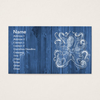 awesome cool Antique effect white octopus Business Card