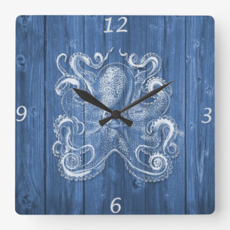 awesome cool Antique effect white octopus Square Wallclocks
