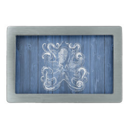 awesome cool Antique effect white octopus Rectangular Belt Buckle