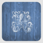 awesome cool Antique effect white octopus Square Sticker