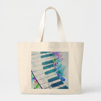 Awesome cool blue circular  piano light effects large tote bag