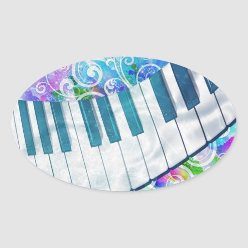 Awesome cool blue circular  piano light effects oval sticker