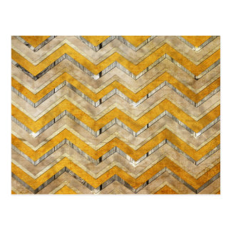 Awesome cool chevron zigzag pattern wood marble postcard