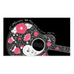 Awesome cool cute trendy girly flowers guitar business card template