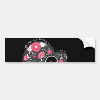 Awesome cool cute trendy girly flowers guitar car bumper sticker
