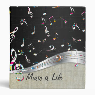 "Awesome cool ""Music is Life"" colourful music notes Binder"