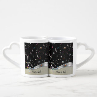 """Awesome cool """"Music is Life"""" colourful music notes Couples Coffee Mug"""
