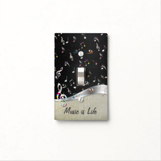 "Awesome cool ""Music is Life"" colourful music notes Light Switch Cover"