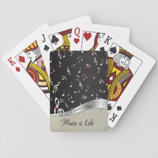 """Awesome cool """"Music is Life"""" colourful music notes Playing Cards"""