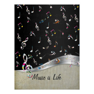 "Awesome cool ""Music is Life"" colourful music notes Poster"