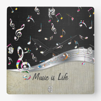 "Awesome cool ""Music is Life"" colourful music notes Square Wall Clock"