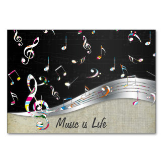 Awesome cool Music is Life colourful music notes Table Cards