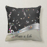 """Awesome cool """"Music is Life"""" colourful music notes Throw Pillow"""