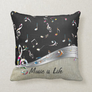"Awesome cool ""Music is Life"" colourful music notes Throw Pillow"