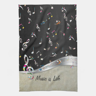 "Awesome cool ""Music is Life"" colourful music notes Towels"