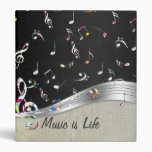 "Awesome cool ""Music is Life"" colourful music notes Vinyl Binder"