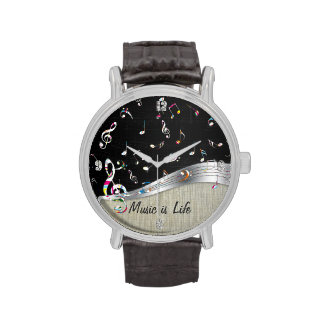 """Awesome cool """"Music is Life"""" colourful music notes Wrist Watch"""