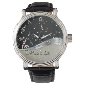 "Awesome cool ""Music is Life"" colourful music notes Wristwatches"