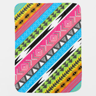 Awesome Cool trendy Aztec tribal Andes bright neon Stroller Blankets