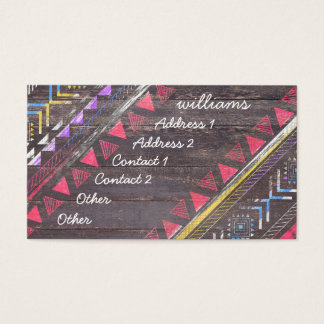 Awesome Cool trendy Aztec tribal Andes wood Business Card