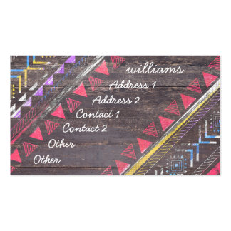 Awesome Cool trendy Aztec tribal Andes wood Double-Sided Standard Business Cards (Pack Of 100)