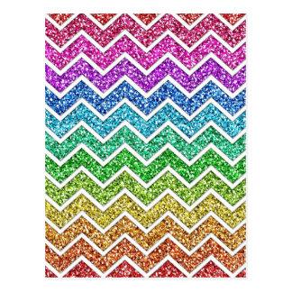 Awesome cool trendy chevron zigzag pattern rainbow postcard