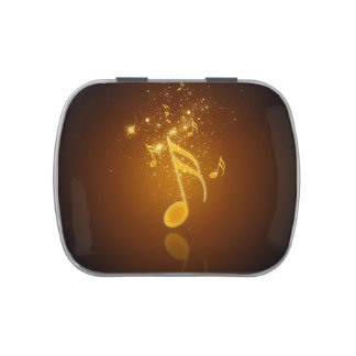Awesome cool trendy glowing semiquavers music note candy tin