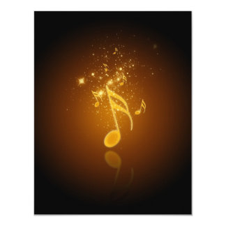 Awesome cool trendy glowing semiquavers music note card